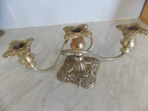 Silver plated triple candle holder