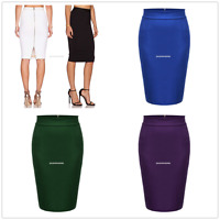 New Womens Plain Bodycon Pencil High Waisted Ladies Stretch Midi Skirt