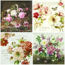 4x Paper Napkins for Decoupage Decopatch Craft Flowers Mix