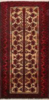 Geometric Tribal Balouch Afghan Oriental Area Rug Hand-Knotted Wool Carpet 2x4