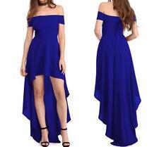 NEW WOMENS HI LO HEM BLUE OFF SHOULDER FIT & FLARE LONG SEXY DRESS--M 61437