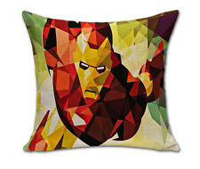 "Ironman Marvel Super Hero Cushion Cover Pillowcase Linen/Cotton 18"" UK SELLER"