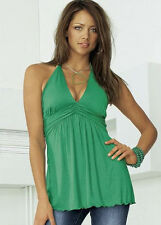NEU SILBERGRAU ! NECKHOLDER PARTY TOP BABYDOLL SHIRT 32 34 MELROSE *439953