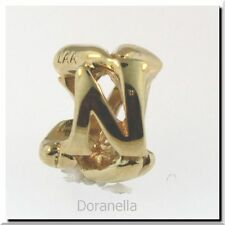 Authentic Trollbeads 18K Gold 21144N Letter Bead N, Gold :0