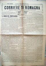 1901 GIORNALE ROMAGNOLO CON COMIZIO PER LA DARSENA RAVENNA. NAVIGAZIONE PUGLIA