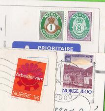 NORVEGE - 4 timbres (dont 2 non oblitérés) en 3 cartes postales