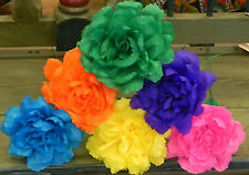 """Mexican Crepe Paper Flowers Set of 6  Multicolor Rose""""We Make Special Orders"""""""