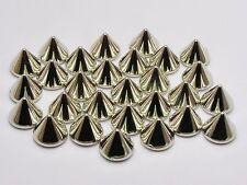 100 Silver Tone Punk Acrylic Spike Taper Studs 10X8mm No Hole Flatback Cabochon