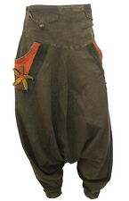BOHO HIPPIE BAGGY GYPSY DROP CROTCH LONG COTTON PANTS w 4-POCKETS  F0451