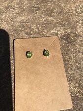 Oval Green Peridot .925 Sterling Silver Stud Earrings