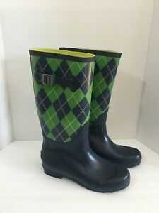 LL Bean Navy Blue & Green Plaid 14 inch Tall Wellies Rain Boots - Women's 8