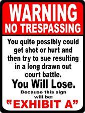 SECURITY SURVEILLANCE Metal Tin Sign NO TRESPASSING  * Burglar * Robber * Thief