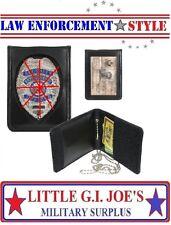Neck ID & Badge Holder Black BI-Fold Leather W / Neck Chain Rothco 1139 NO BADGE