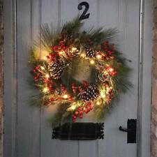 Red Berry and Pine Cone Frosted Pre Lit Christmas Wreath with Lights, 50cm