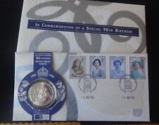 1990 SILVER PROOF UK £5 COIN ROYAL MINT + MAIL PNC QUEEN MOTHER 90th 1/250