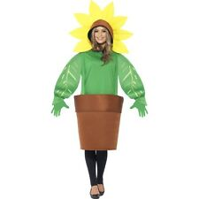 Mens Womens Sunflower Costume Fancy Dress Garden Summer Outfit Flower Pot Adult