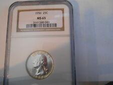 N.G.C. MS 65 1956 WASHINGTON  QUARTER 90% SILVER COIN