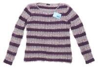 M&Co Womens Size 16 Striped Purple Fluffy Jumper (Regular)