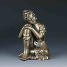 Collectible Chinese Miao Silver Handwork Sitting Buddha statues
