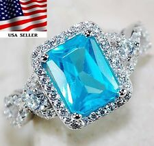 3CT Aquamarine & White Topaz 925 Solid Sterling Silver Ring Jewelry Sz 8, T6-13
