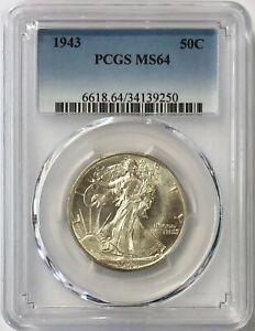 1943 Walking Liberty Half Dollar 50c PCGS MS64 - Collectors Coin