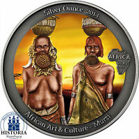 Mursi 1 Silver Ounce Antik Finish 2014 Kongo 1000 Francs Silber 1 Unze in Farbe