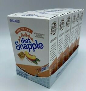 Diet Snapple Peach Tea Lot of 6 Boxes SINGLES ON THE GO Drink Mix Packets