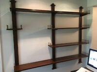 Vtg French Style Wood Brass Wall Display Adjustable Shelves- Baker Furniture?