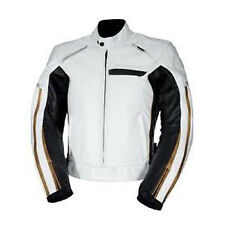 Mens Biker Jackets Fashion Stylish Black White Cowhide Leather Motorcycle Casual