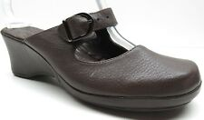 Dockers Quirkyk Brown Leather Mary Jane Platform Wedge Mules Heels Clogs 7