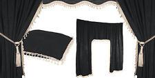 5 tlg. LKW Gardinen Vorhänge Innenausstattung Set schwarz weiß IVECO MAN SCANIA