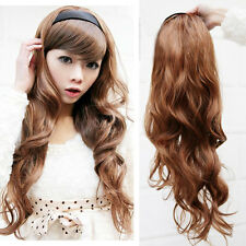 70cm Long Wavy Curly Daily Costume Womens Hair 3/4 Wig+Headband Black/Brown Hair