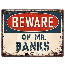 PP2746 Beware of MR. BANKS Plate Chic Sign Home Store Wall Decor Funny Gift