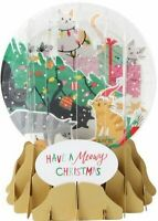 Trimming Trouble Kitty Cats Christmas Greeting Card Snow Globe Pop Up Holiday