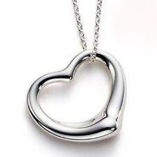 Womens Girls Silver Coloured Love Heart Pendant Necklace in Velvet Gift Bag