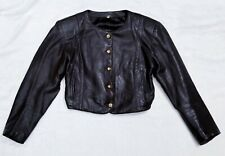 Pierre Cardin Paris Creation Vintage 1960's Mod Cropped Bolero Leather Jacket S