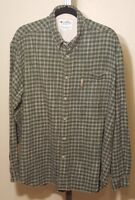 Columbia Mens Shirt Large Flannel Plaid Long Sleeve Button Down Green Cotton