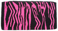 Blanket saddle pad pink zebra  woven wool 36  x 34 western roping barrel thick