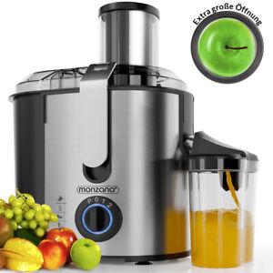 Centrifugeuse en Inox Fruits et légumes 1100W Extracteur de jus carottes pommes