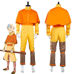 Avatar The Last Airbender Avatar Aang Cosplay Costume Adult & Kid Outfit