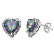 Rainbow Cz & Cubic Zirconia Heart .925 Sterling Silver Earring
