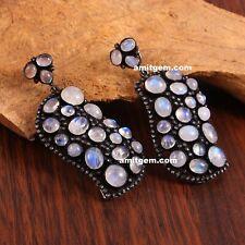 Natural White Rainbow Moonstone Diamond Dangle 925 Sterling Silver Earring 97