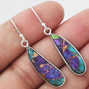 Multi Copper Turquoise - Arizona 925 Sterling Silver Earrings Jewelry E734