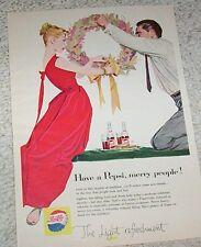 1957 ad page - Pepsi Cola soda pop - lady man Christmas artwork art PRINT ADVERT