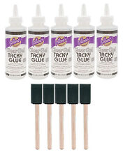 "BULK 5 of Aleene's Clear Gel Tacky Glue liquid glue 4oz + 5 of 1"" foam brushes"