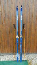 "VINTAGE Wooden 83"" Skis Has BLUE Finish Signed CASTOR + Bamboo Poles"