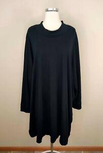 Roaman's 4X Womens Long Sleeve Hi Low Shirt Top Black 100% Cotton Knit 34 / 36