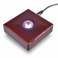 Asente Lights 5 LED Cherry Wood White Light Stand Base for Crystals - AC/USB