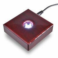Santa Cruz Lights 5 LED Cherry Wood White Light Stand Base for Crystals - AC Pow
