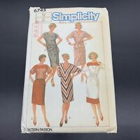 Simplicity Vintage Sewing Pattern #6745 Misses One and Two Piece Dresses Size 12